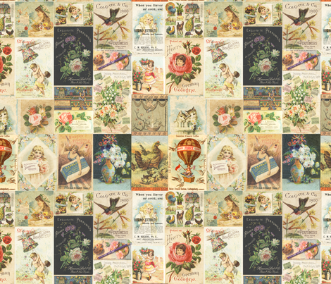 Shabby Chic Vintage Ephemera Collage fabric by jodielee on Spoonflower - custom fabric