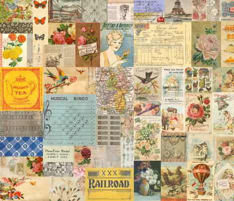 Antique VintageCrazy Quilt Postcard Ephemera Collage fabric by jodielee on Spoonflower - custom fabric