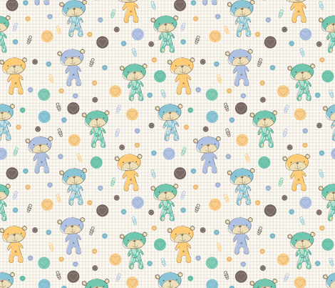 Baby Bear (blue) fabric by mondaland on Spoonflower - custom fabric