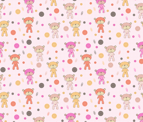 Baby Bear (pink) fabric by mondaland on Spoonflower - custom fabric