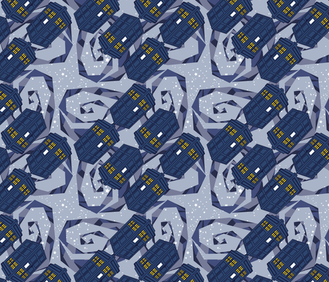 Blue Box - Blue Galactic Swirl fabric by thirdhalfstudios on Spoonflower - custom fabric