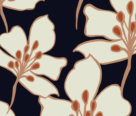 navy_coral_flowers fabric by samanthakurland_gallacher on Spoonflower - custom fabric