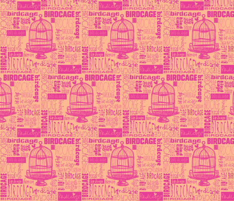 Birdcage Type! (Pink & Peach) fabric by pattyryboltdesigns on Spoonflower - custom fabric