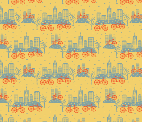 City Bikes Yellow (Small) fabric by gracedesign on Spoonflower - custom fabric