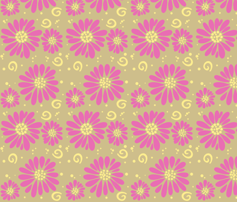 daisies and swirls tan/pink fabric by alyson_chase on Spoonflower - custom fabric