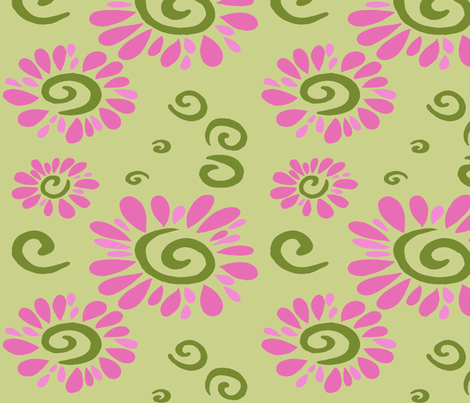 swirly daisies fabric by alyson_chase on Spoonflower - custom fabric