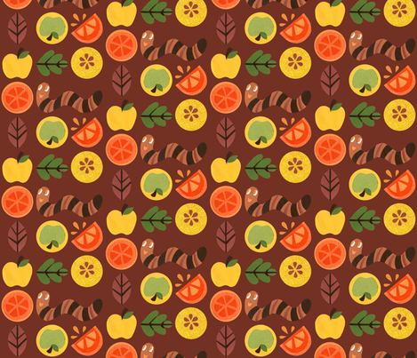 Super Hoot Autumn Worm, Leaves & Fruit fabric by super_hoot on Spoonflower - custom fabric