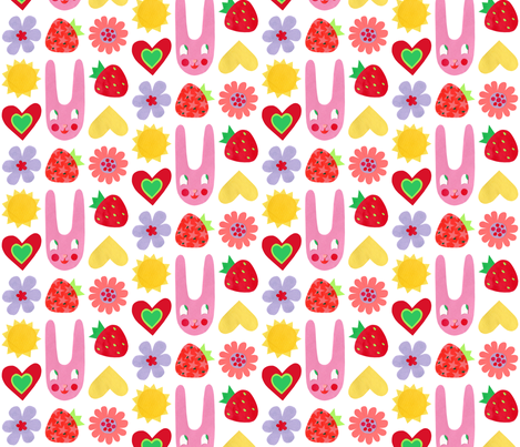 Super Hoot Summer Bunny, Hearts & Flowers fabric by super_hoot on Spoonflower - custom fabric