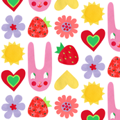 Super Hoot Summer Bunny, Hearts & Flowers