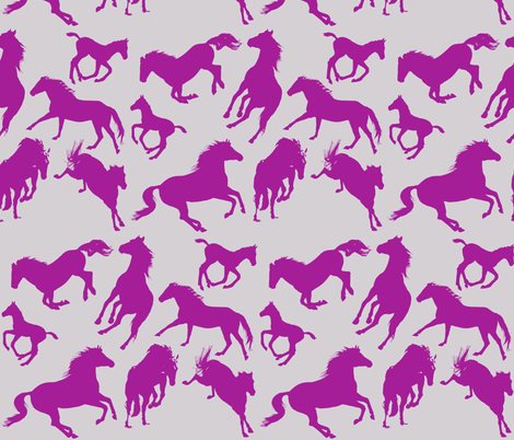 Horses Fuscia Pink on Light Gray fabric by theartfulhorse on Spoonflower - custom fabric