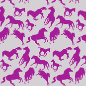 Horses Fuscia Pink on Light Gray
