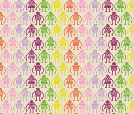 Rows of Robots - small fabric by natasha_k_ on Spoonflower - custom fabric