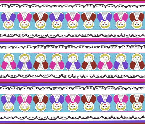 Matryoshka DollStriped Coordinate fabric by scoutmom131 on Spoonflower - custom fabric