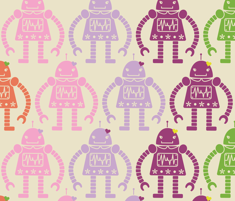 Rows of Robots - large fabric by natasha_k_ on Spoonflower - custom fabric