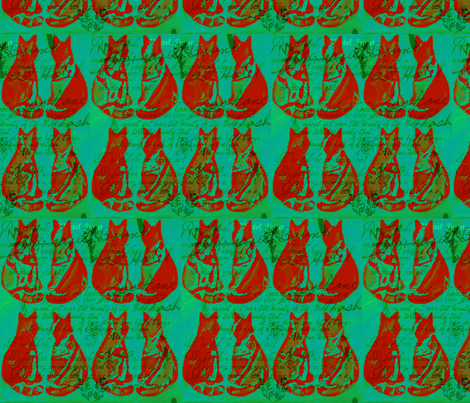 Cats/ Post No Bills, In Strawberry and Field Green fabric by artland95 on Spoonflower - custom fabric