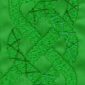 Celtic knot stitched in green