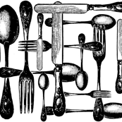 Cutlery Black and White