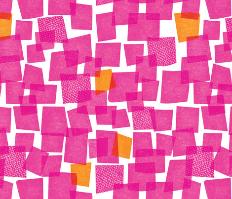 happy squares: pink & orange fabric by sarahehlinger on Spoonflower - custom fabric