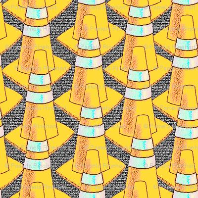 traffic cones golden glow