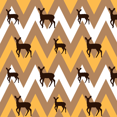 Chevron and deer in deco colors fabric by cnarducci on Spoonflower - custom fabric