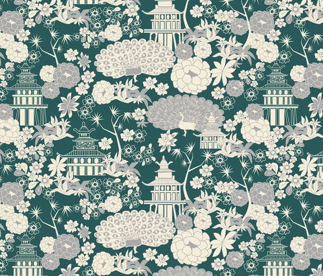 Pagoda garden green fabric by kociara on Spoonflower - custom fabric
