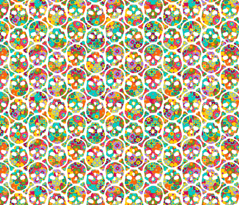 Day of the Dead Flowered Skull WHITE on multi - SMALL fabric by thirdhalfstudios on Spoonflower - custom fabric