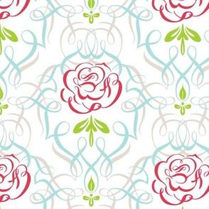 Lime Rose Damask