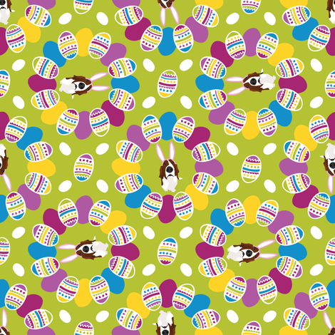 Easter Basset & Eggs Circles fabric by robyriker on Spoonflower - custom fabric