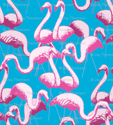 Plastic Flamingos - Blue