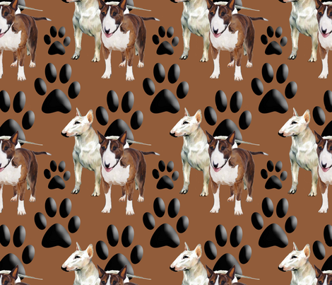 Bull Terriers and Paw prints fabric by dogdaze_ on Spoonflower - custom fabric