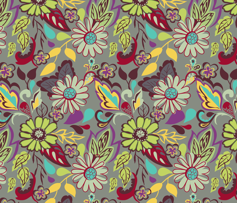 Large Bright Blooms fabric by marlene_pixley on Spoonflower - custom fabric