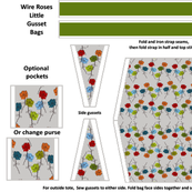 Little Tote Bags Kit: Whimsical Wire Rose Garden Design