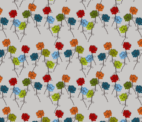 Whimsical Wire Rose Garden fabric by kdl on Spoonflower - custom fabric