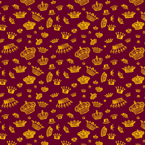 Royal Crowns - Yellow on Maroon fabric by lavaguy on Spoonflower - custom fabric