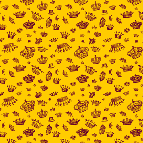 Royal Crowns - Maroon on Yellow fabric by lavaguy on Spoonflower - custom fabric