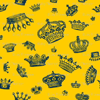 Royal Crowns - Blue on Yellow