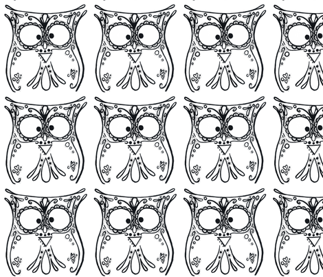 Folk Art Owl-ed fabric by jkessel_design on Spoonflower - custom fabric