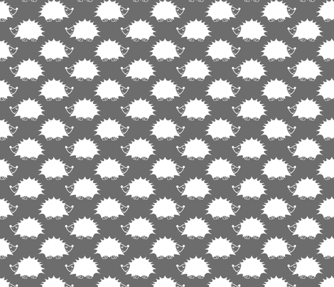Hedgehog - Gray fabric by laurendahl on Spoonflower - custom fabric