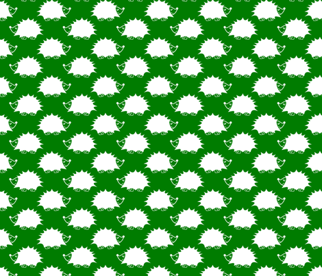 Hedgehog - Green fabric by laurendahl on Spoonflower - custom fabric