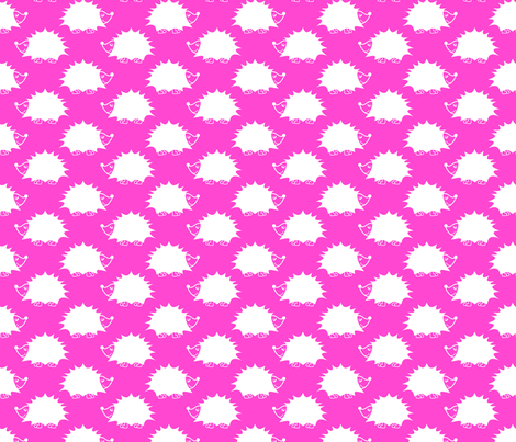 Hedgehog - Pink fabric by laurendahl on Spoonflower - custom fabric