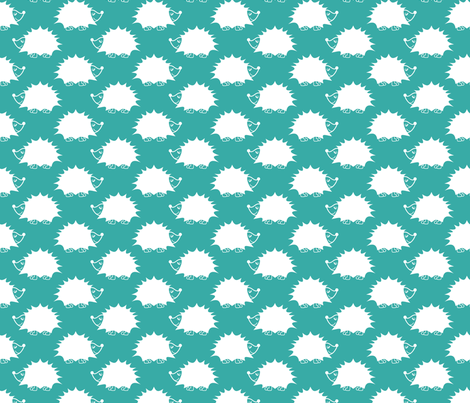hedgehog_turquoise fabric by laurendahl on Spoonflower - custom fabric