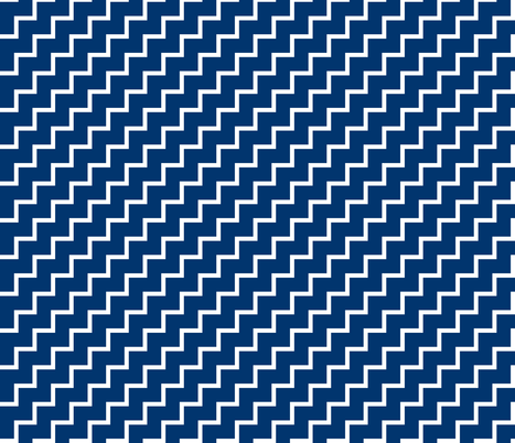 Bias Zig Zag - White on Navy fabric by laurendahl on Spoonflower - custom fabric