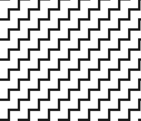 Bias Zig Zag - Black on White fabric by laurendahl on Spoonflower - custom fabric