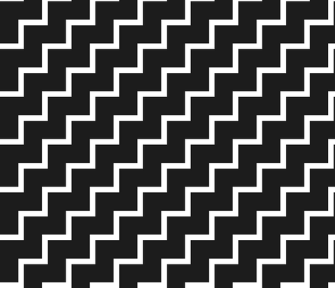 Bias Zig Zag - White on Black fabric by laurendahl on Spoonflower - custom fabric