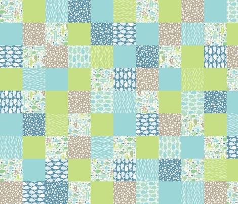 'I see creatures' cheater/sampler - blue fabric by mondaland on Spoonflower - custom fabric
