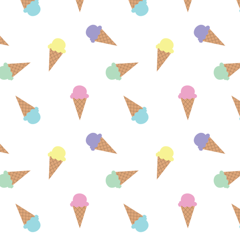 IceCreamBasicRepeatGOodWhite fabric by snowforzo on Spoonflower - custom fabric