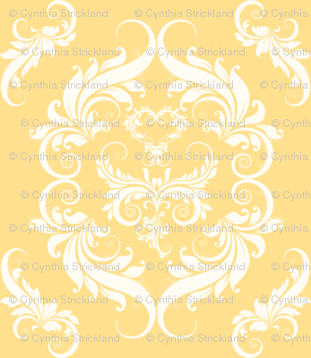 Soft Golden Yellow Damask