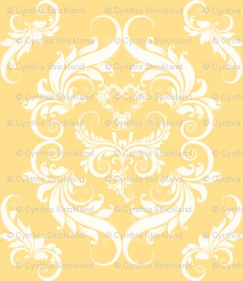 Soft Golden Yellow Damask