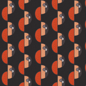 Half circles orange on brown SMALL