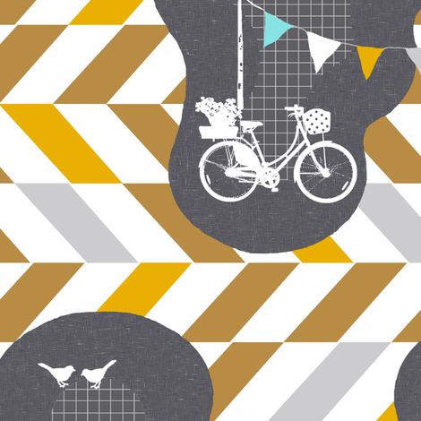 park the bike and go for a walk fabric by katarina on Spoonflower - custom fabric